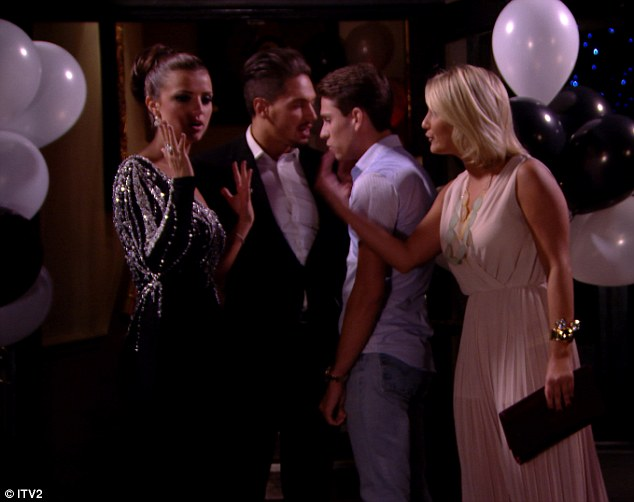 Heated: Lucy Mecklenburgh and Sam Faiers get into an almighty argument at Lucy and Mario's engagement party