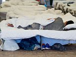 F22FH3 Giessen, Germany. 10th Sep, 2015. A refugee sleeps in his camp bed during a press tour around the Hesse refugee reception centre in Giessen, Germany, 10 September 2015. The centre accomodates more than 500 refugees. PHOTO: BORIS ROESSLER/dpa/Alamy Live News