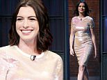 LATE NIGHT WITH SETH MEYERS -- Episode 264 -- Pictured: Actress Anne Hathaway arrives on September 24, 2015 -- (Photo by: Lloyd Bishop/NBC/NBCU Photo Bank via Getty Images)