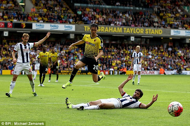 Steven Berghuis in action for Watford in their Premier League clash with West Brom