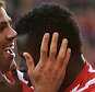 STOKE ON TRENT, ENGLAND - SEPTEMBER 26:  Mame Biram Diouf (R) of Stoke City celebrates scoring his team's second goal with his team mate Jonathan Walters (L) during the Barclays Premier League match between Stoke City and A.F.C. Bournemouth at Britannia Stadium on September 26, 2015 in Stoke on Trent, United Kingdom.  (Photo by Gareth Copley/Getty Images)