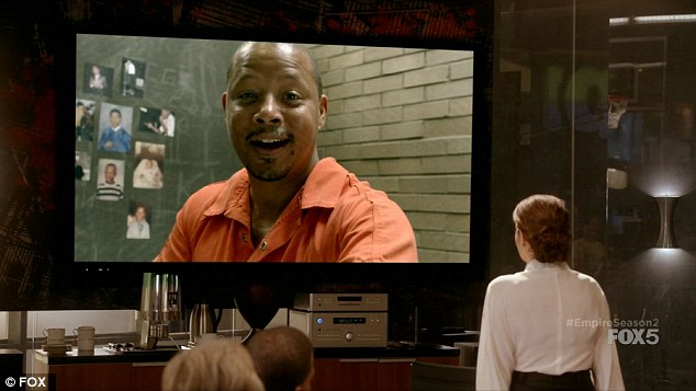 Last laugh: Lucious was shown in a video feed from jail laughing at Cookie's attempt