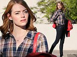 142904, EXCLUSIVE: Emma Stone seen filming on the set of her upcoming movie 'La La Land' in Pasadena. The actress talks on the cellphone as she enters her Prius car. Pasadena, California - Thursday September 24, 2015. Photograph: Miguel Aguilar, © PacificCoastNews. Los Angeles Office: +1 310.822.0419 sales@pacificcoastnews.com FEE MUST BE AGREED PRIOR TO USAGE
