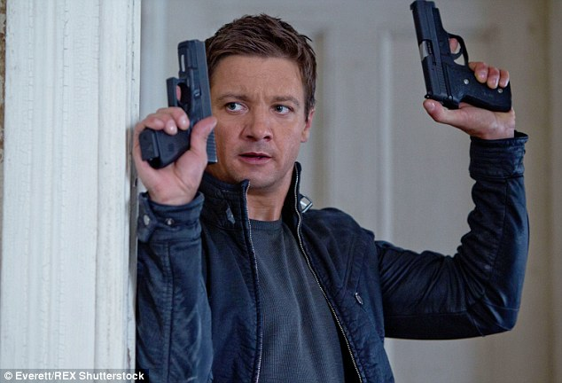Lover not a fighter: The Avengers star says he owns his collection of weapons and guns forhome protection, sport shooting or target practice - he is pictured her ein The Bourne Legacy