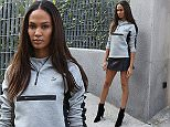 Top model Joan Smalls (Victoria's Secret angel & Balmain campaign face) seen leaving Bottega Veneta SS2016 show in Milan during fashion week in Puma sweater, Chanel bag and leather skirt.\n\nPictured: Joan Smalls\nRef: SPL1137374  260915  \nPicture by: MCvitanovic\n\nSplash News and Pictures\nLos Angeles: 310-821-2666\nNew York: 212-619-2666\nLondon: 870-934-2666\nphotodesk@splashnews.com\n