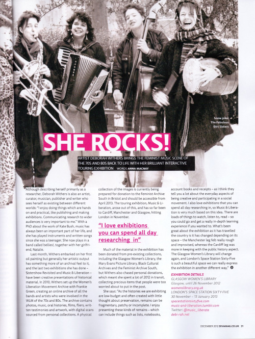 Press about Music & Liberation in lesbian lifestyle mag DIVA. With big thanks to Anna McNayfor writing it and Rachael at the Space Station for putting us in touch.