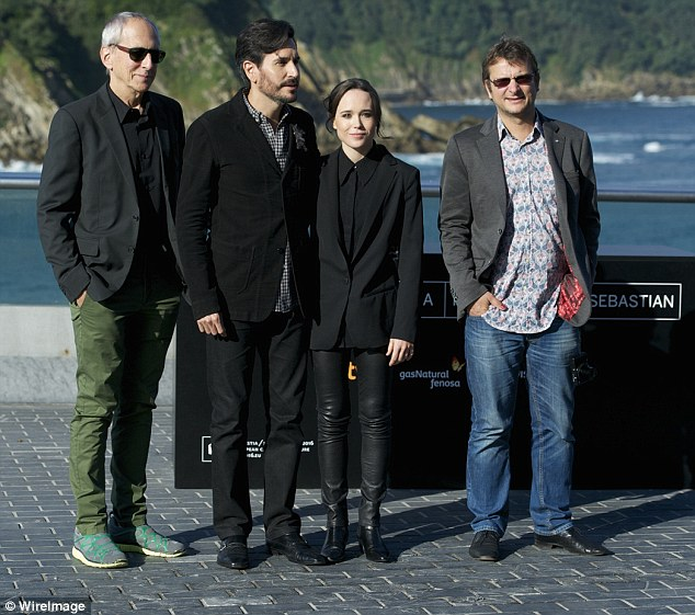 Creative chums: The actress - who first shot to fame in 2005's Hard Candy - appeared at a photocall for her latest project, Freeheld, alongside director Peter Solett and the film's producer Phil Hunt