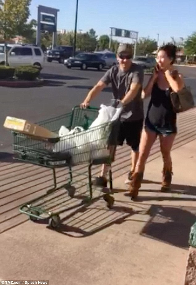 Packing heat: Jeremy Renner went shopping for some firearms on Monday in Nevada