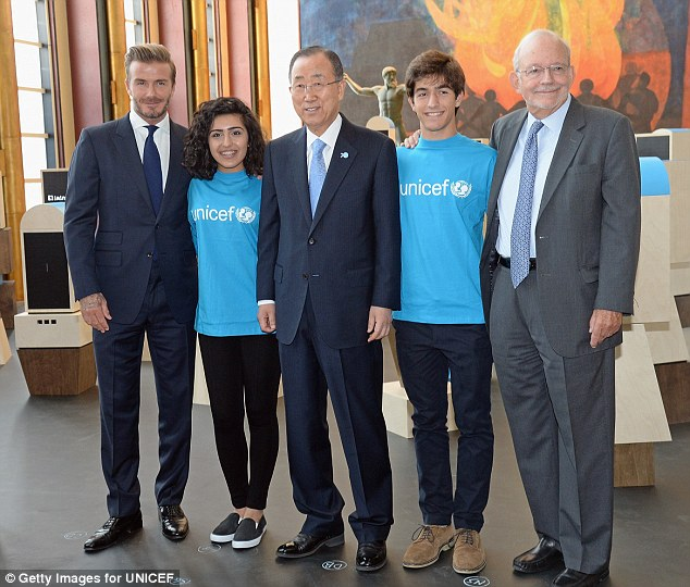 Group shot: Also joining them were two members of the UNICEF Voices of Youth initiative, Noor Samee and Rodrigo Bustamante, as well asUNICEF Executive Director Anthony Lake