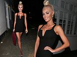 TOWIE's Chloe Sims showing off a lot of leg and cleavage in a figure hugging mini dress. Chloe was seen in the tiny black number as she headed out for dinner in London's Mayfair.  Pictured: Chloe Sims Ref: SPL1136832  260915   Picture by: Charlie / Splash News  Splash News and Pictures Los Angeles: 310-821-2666 New York: 212-619-2666 London: 870-934-2666 photodesk@splashnews.com