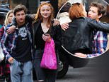 Exclusive Images of Game of Thrones actress Sophie Turner with actor Tye Sheridan of X-men fame . The pair/couple had lunch together at Nando's  on Berners street before walking arm in arm down Oxford street .