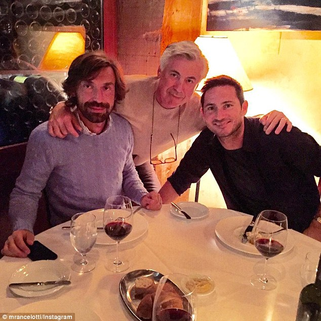Former Real Madrid boss Carlo Ancelotti enjoyed dinner in Vancouver with Andrea Pirlo and Frank Lampard