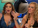 """****Ruckas Videograbs****  (01322) 861777\n*IMPORTANT* Please credit Channel 5 for this picture.\n23/09/15\nCelebrity Big Brother's Bit On The Side (2015) - last night (22/09/15), Channel 5\nSEEN HERE: Grabs of Aisleyne and Farrah before their fight, where they argued as Vicki Michelle sat between them. Aisleyne called Farrah a """"silly little girl"""" adding she """"nasty"""" and told her to """"f*ck off"""". Farrah then mocked Aisleyne for only appearing on the normal Big Brother. Rylan mopped his brow after things got heated.\nGrabs leading up to last night's broadcast being suspended after it is alleged Aisleyene Horgan-Wallace threw a champagne glass at Farrah Abraham. The footage saw Farrah saying """"Hag, be quiet"""" before Aisleyne reached for her glass of Champagne. The show then was briefly suspended, with viewers left watching a CBB graphic. Host Rylan Clark then returned and said they unfortunately had to lose the panel. It is reported that panelist Vicki Michelle was injured following the inci"""