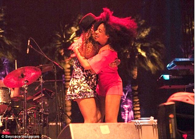 Support: The second picture features Beyonce and Solange embracing each other