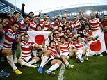 Rugby Union - South Africa v Japan - IRB Rugby World Cup 2015 Pool B - Brighton Community Stadium, Brighton, England - 19/9/15   Japan celebrate victory after the match  Japan won the game 34-32.    Reuters / Eddie Keogh  Livepic