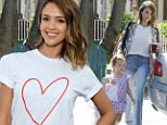 Jessica Alba and husband Cash Warren, and their two daughters Honor Marie and Haven Garner, enjoy the sunny day having lunch then Jessica runs an errand in Hollywood September 26, 2015 X17online.com
