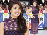 """New York, NY - Bollywood actress Priyanka Chopra is perfectly poised as she makes an appearance on Good Morning America. The former beauty queen and current UNICEF goodwill ambassador is set to star in the new drama """"Quantico"""", which will be premiering on September 27 on ABC. \nAKM-GSI       September 25, 2015\nTo License These Photos, Please Contact :\nSteve Ginsburg\n(310) 505-8447\n(323) 423-9397\nsteve@akmgsi.com\nsales@akmgsi.com\nor\nMaria Buda\n(917) 242-1505\nmbuda@akmgsi.com\nginsburgspalyinc@gmail.com"""