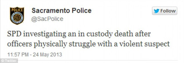 Crime report: Sacramento Police Department announced the suspect's death through its Twitter account