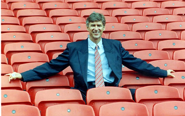 Eighteen years on: Arsene Wenger is unveiled at Highbury back in 1996