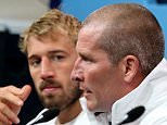 LONDON, ENGLAND - SEPTEMBER 26:  England Head Coach Stuart Lancaster speaks at the post match press conference with Captain Chris Robshaw during the 2015 Rugby World Cup Pool A match between England and Wales at Twickenham Stadium on September 26, 2015 in London, United Kingdom.  (Photo by David Rogers/Getty Images)
