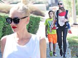 Mandatory Credit: Photo by Startraks Photo/REX Shutterstock (5183036c)\n Gwen Stefani, son Kingston and Apollo Rossdale\n Gwen Stefani out and about, Los Angeles, America - 27 Sep 2015\n Newly Single Gwen Stefani takes her kids to Church\n