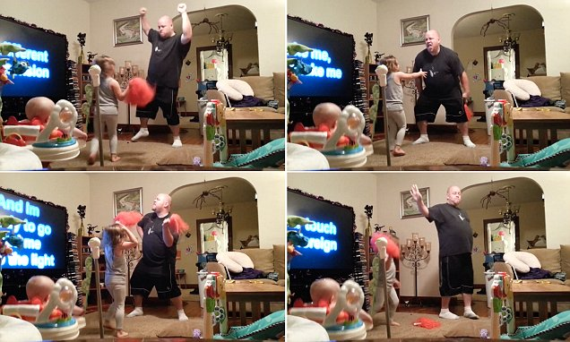 Mother's hidden camera shows what dad REALLY gets up to babysitting