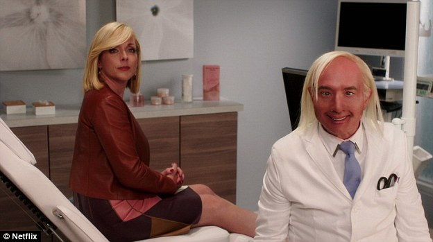 In the fourth episode of the Netflix show's first season, Dr Franff makes a short appearance as a cosmetic doctor who consults with Kimmy (Ellie Kemper) and Jacqueline (Jane Krakowski, pictured)