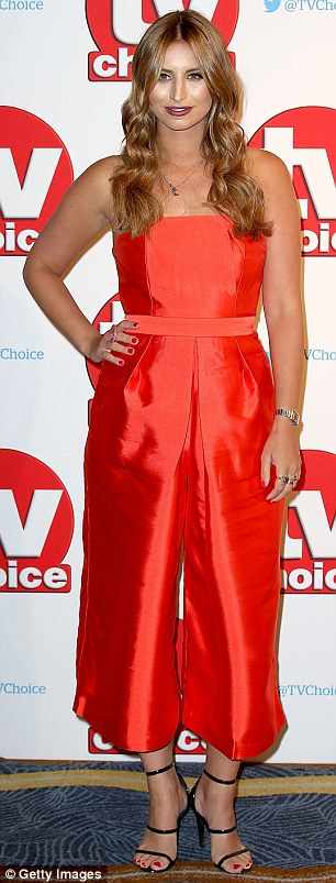 Lady in red! Ferne McCann turned heads in a satin jumpsuit, which featured strapless detail and a clinched waist