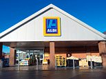 The exterior of Aldi supermarket in Hereford, UK.  EEFFHX