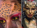 Mexican body modification and tattoo artist Emilio Gonzalez, shows off his work during the last day of the Quito Tattoo Convention in Quito, Ecuador September 27, 2015. REUTERS/Guillermo Granja