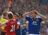 EVERTON V LIVERPOOL -  Goodison Park  Everton's Jack Rodwell is harshly red carded for a tackle on Liverpool Suarez.   Liverpool won the game 2-0.  PIctures by Ian Hodgson/Daily Mail . REXMAILPIX.