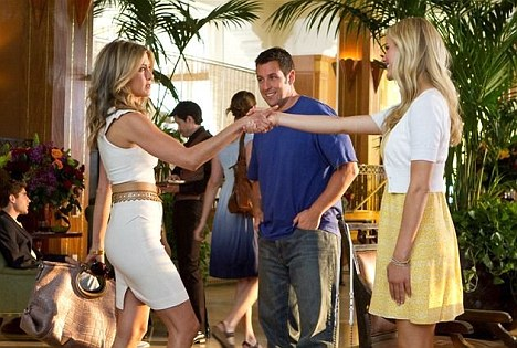 Comic duo: Jennifer stars alongside Adam Sandler in the romantic comedy Just Go With It, released on February 11