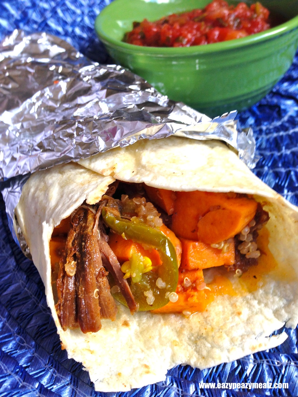 BBQ Pork, sweet potato, quinoa burrito