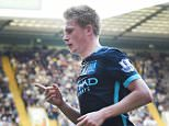 epa04950422 Manchester City's Kevin De Bruyne celebrates after scoring the opening goal against Tottenham during the English Premier League soccer match between Tottenham and Manchester City at White Heart Lane in London, Britain, 26 September 2015.  EPA/ANDY RAIN No use with unauthorized audio, video, data, fixture lists, club/league logos or 'live' service. Online in-match use limited to 75 images, no video emulation. No use in betting, games or single club/league/player publications  EDITORIAL USE ONLY  EDITORIAL USE ONLY
