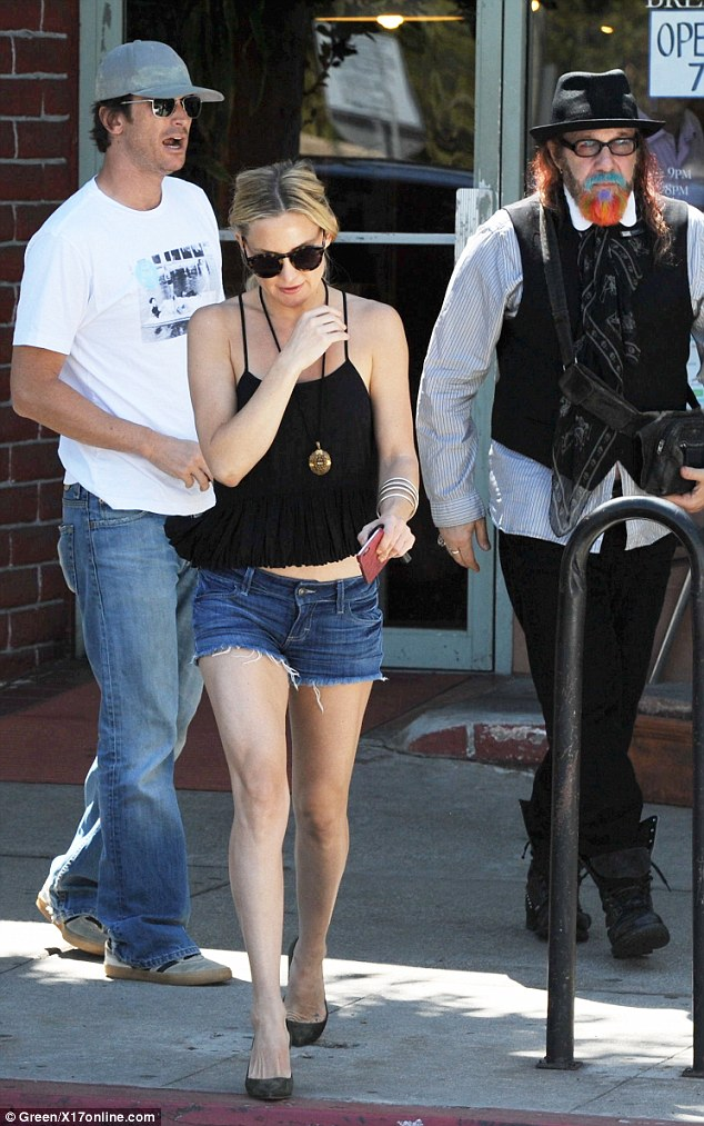 Leggy lady: The Almost Famous actress showed some skin with her frayed Daisy Dukes shorts