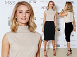 Mandatory Credit: Photo by Tom Dymond/REX Shutterstock (5192211c)\n Rosie Huntington-Whiteley\n M&S Exclusive Collection Launch for Breast Cancer Now, London, Britain - 29 Sep 2015\n Rosie Huntington-Whiteley launches her first exclusive collection for Breast Cancer Now, designed in partnership with M&S. 10% from each sale of the new 19-piece collection will be donated to Breast Cancer Now to help fund breast cancer research. At the lingerie launch Rosie showed her support for the M&S #ShowYourStrap campaign.\n