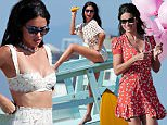 143011, EXCLUSIVE: Adriana Lima shows her beach style in different outfits during a photoshoot in LA. Los Angeles, California - Monday, September 28, 2015. Photograph: KVS, © PacificCoastNews. Los Angeles Office: +1 310.822.0419 sales@pacificcoastnews.com FEE MUST BE AGREED PRIOR TO USAGE