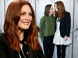 "NEW YORK, NY - SEPTEMBER 28:  Ellen Page and Julianne Moore speak during ""Freeheld""  AOL BUILD speaker series  at AOL Studios In New York on September 28, 2015 in New York City.  (Photo by John Lamparski/Getty Images)"