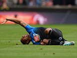STOKE ON TRENT, ENGLAND - SEPTEMBER 26:  Callum Wilson of Bournemouth lies on the ground after his injury during the Barclays Premier League match between Stoke City and A.F.C. Bournemouth at Britannia Stadium on September 26, 2015 in Stoke on Trent, United Kingdom.  (Photo by Gareth Copley/Getty Images)