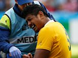 BIRMINGHAM, ENGLAND - SEPTEMBER 27:  Will Skelton of Australia is given treatment during the 2015 Rugby World Cup Pool A match between Australia and Uruguay at Villa Park on September 27, 2015 in Birmingham, United Kingdom.  (Photo by Dan Mullan/Getty Images)