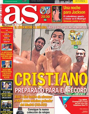 AS led with the picture on their front page, headlined 'Ronaldo prepared for the record'