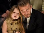 """LOS ANGELES, CA - APRIL 16:  Harper Beckham (L) and David Beckham attend the Burberry """"London in Los Angeles"""" event at Griffith Observatory on April 16, 2015 in Los Angeles, California.  (Photo by Jeff Vespa/Getty Images for Burberry)"""
