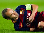 BARCELONA, SPAIN - SEPTEMBER 29:  Andres Iniesta of FC Barcelona lays injured during the UEFA Champions League Group E match between FC Barcelona and Bayern 04 Leverkusen at Camp Nou on September 29, 2015 in Barcelona, Spain.  (Photo by Alex Caparros/Getty Images)