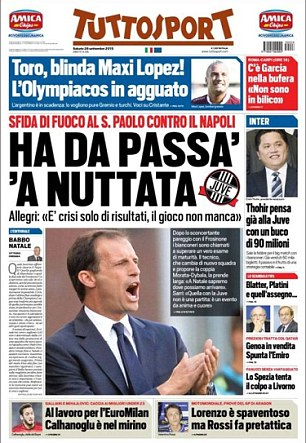 Massimiliano Allegri has said ''it's only a crisis of results, our performances aren't lacking' as reported by Tuttosport