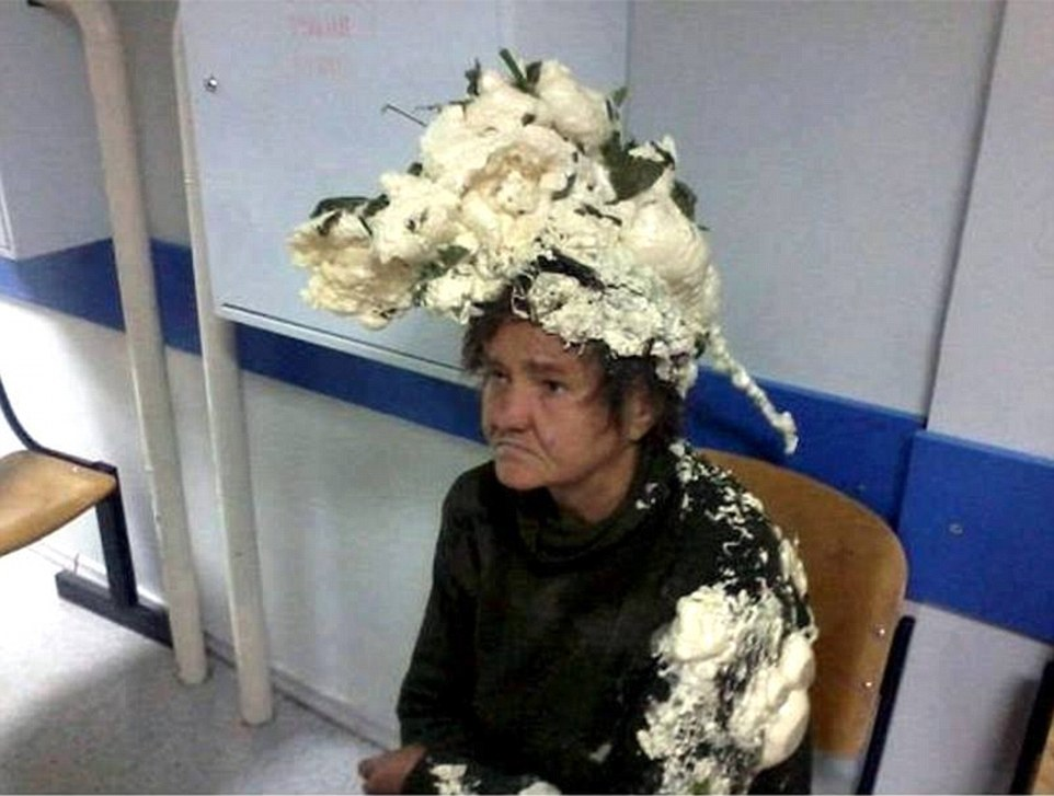 Big mousse-take: This image, which has begun circulating on social media on Tuesday, shows a mystery woman, believed to be from Eastern Europe, who mixed up hair mousse with builders' foam and ended up in hospital