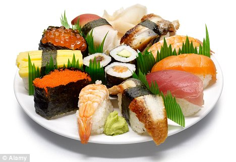 Technicality: Sushi is made up of cooked rice and a topping, usually fish
