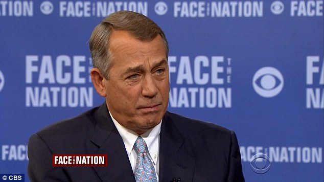 On Face the Nation Sunday, outgoing House Speaker John Boehner slammed the right-flank of his party for being 'unrealistic' and shutting down the government in 2013 - a mistake they wouldn't be making this year