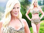 EXCLUSIVE FAO DAILY MAIL ONLINE FEE AGREED WITH CHERRY HOWES\n Mandatory Credit: Photo by Startraks Photo/REX Shutterstock (5195687e)\n Tori Spelling\n Tori Spelling wearing a bikini, Los Angeles, America - 24 Sep 2015\n Tori Spelling enjoys a little down time with two of her children Stella and Liam on a hot day in the Valley.\n