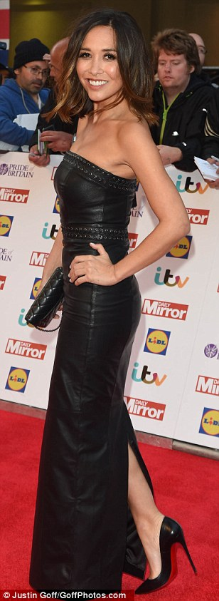 Killer curves: Myleene Klass oozed heaps of sex appeal in a strapless leather dress and black patent heels