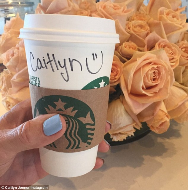 Happy to be Caitlyn:On Saturday she celebrated her official name change. The E! star posted a photo of a cup of Starbucks coffee to go with her name on it as well as a smiley face. Pink roses were in the background